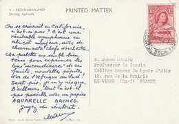 Carte Publicité Papier Aquarelle ARCHES V Bechuanaland 1957 à Prof Dessin Le Vigan Gard - 1885-1964 Bechuanaland Protectorate