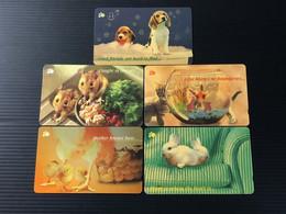 Singapore Telecom GPT Singtel Phonecard - Animals, Set Of 5 Used Cards Including One $50 Used Card - Singapore