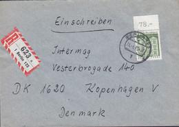 Bundespost Berlin Registered Einschreiben Label BERLIN 1970 Cover Brief KOPENHAGEN Denmark Stamp W. Topmargin !! - Briefe U. Dokumente