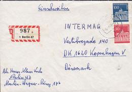Bundespost Berlin Registered Einschreiben Label BERLIN 1969 Cover Brief KOPENHAGEN Denmark - Briefe U. Dokumente