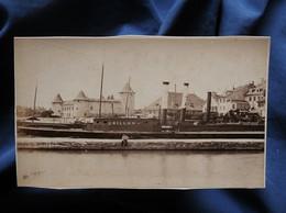 """Photo CDV Garcin à Genève - Le Vapeur """"Chillon"""" à Quai, Circa 1880 L566D - Anciennes (Av. 1900)"""
