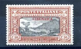 1924 CIRENAICA N.14 * Manzoni 50 Cent. OTTIMAMENTE CENTRATO - Cirenaica
