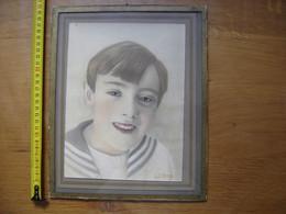 DESSIN Portrait D'enfant En Costume Marin SIGNÉ Dans Un Cadre En Verre - Dessins