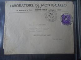 MONACO  ENVELOPPE 2/10/1943 LABORATOIRE DE MONACO (Avenue La Costa) - 1801-1848: Précurseurs XIX