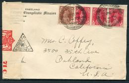 1941 India Calvary Evangelistic Mission, Pattathanam Travancore Censor Cover - Oakland California USA - 1936-47 King George VI