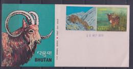 Bhutan 1970 Animals Series Leopard, Deer 3-D FDC - Bhutan