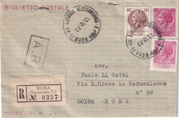 ITALIE 1973    ENTIER POSTAL/GANZSACHE/POSTAL STATIONERY LETTRE RECOMMANDEE DE ROMA - Interi Postali