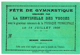 """VOSGES (88) CARTE VIERGE. RAMBERVILLERS ? FETE De GYMNASTIQUE ORGANISEE Par """" LA SENTINELLE Des VOSGES """"1909. - Ohne Zuordnung"""