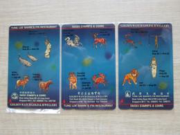 Private Issued GPT Phonecard,1STSA,1STUA,1SGWA,12 Zodiac, Advertisment Of Golden Watach Golden, Set Of 3,mint - Singapore