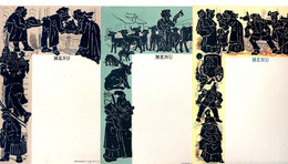 3 Menuekarten, Unbeschrieben Mit Schattenbilder - Schwarz(Weiss-Figuren, Je Ca. 11 X 16,5 Cm Um 1910-20 - Menus