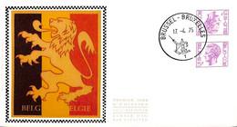 [910759]TB//-Belgique 1975 - BRUXELLES-BRUSSEL, FDC Soie, Tête-Bêche, Félins, Familles Royales - 1971-80