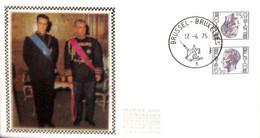 [910760]TB//-Belgique 1975 - BRUXELLES-BRUSSEL, FDC Soie, Tête-Bêche, Félins, Familles Royales - 1971-80