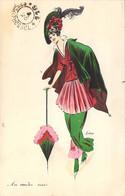 """Art Nouveau Elégante Jeune Femme Au Chapeau Vert Et Parapluie """"Au Rendez Vous"""" Belle Illustration Signée - Otros Ilustradores"""