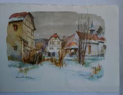 Lithographie Format CP EMLINGEN SUNDGAU De Gérard MEYER - Litografia