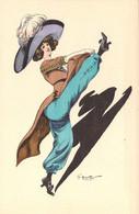 """Art Nouveau Illustration De G.Mouton  Jeune Femme En Pantalon Bouffant """"à La Mauresque"""" Et Grand Chapeau - Otros Ilustradores"""