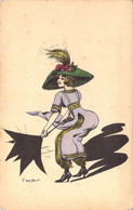 """Art Nouveau Illustration De G.Mouton  Jeune Femme En Pantalon Bouffant """"à La Mauresque"""" Emportée Par Le Vent - Otros Ilustradores"""