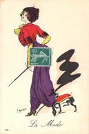 """Art Nouveau Illustration De G.Mouton La Mode Fashion Jeune Femme En Pantalon Bouffant """"à La Mauresque""""  Et Petit Chien - Otros Ilustradores"""