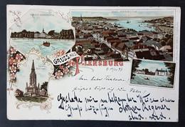 Litho Gruss Aus Flensburg, Schloss Grafenstein, Düppel Denkmal, Schloss Glücksburg, Gelaufen 1897 - Flensburg