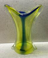 Grande VASO In VETRO Grosso ANNI '60  Giallo E Blu , Altezza Cm. 31 - Glass & Crystal
