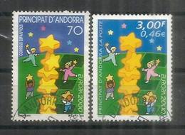 ANDORRE FRANCAIS/ANDORRA ESPAGNOL . Colonne D'étoiles.  2 Val.  And.FR + And.ESP, Oblitérés Andorre, 1 Ere Qualité - Usati
