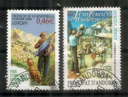 ANDORRE. EUROPA 2003. XXIII Foire Concours D'Andorre, Chien & Berger,2 Timbres Oblitérés Andorre, 1 ère Qualité - 2003