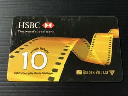 Singapore Golden Village Movie Card, Set Of 1 Used & Expired Card - Singapore