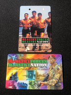 Mint Singapore SMRT TransitLink Metro Train Subway Ticket Card, Healthy Forces Healty Nation, Set Of 2 Mint Cards - Singapore