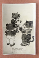 RARE Old USSR Russian Photo Postcard 1935 Dressed Singers Animals. TRIO. Tiger, Bear, Hippo Sing Notes. - Hippopotamuses