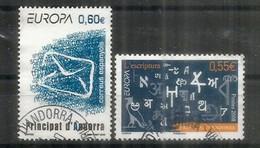 ANDORRE. EUROPA 2008. L'écriture, Alphabets étrangers, 2 Timbres Oblitérés Andorre, 1 ère Qualité - 2008