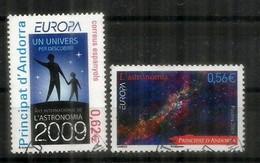 ANDORRE. EUROPA 2009.l'Astronomie, 2 Timbres Oblitérés Andorre, 1 ère Qualité - 2009
