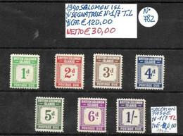 ISOLE SALOMONE *1940, SEGNATASSE, 7 VALORI Con TRACCIA Di LINGUELLA - British Solomon Islands (...-1978)