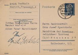 Erich Bockholt 3 Rostock  1954 > RA Otto Josef Spachtholz München - Literatur Gedichte Religiöse Dichtung - Postkarten - Gebraucht