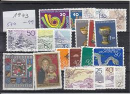 Liechtenstein Jahrgang 1973 Gestempelt O, MiNr. 579 - 599 - Gebraucht