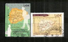 ANDORRE. EUROPA 2020. Anciennes Routes Postales En Andorre ,2 Timbres Oblitérés Andorre, 1 ère Qualité - Geografia