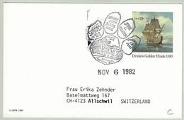 USA 1982, Ganzsachen-Karte Drake's Golden Hinde Sparpex - Allschwil (Schweiz), Fussabdruck / Footprint / Empreinte - Perros