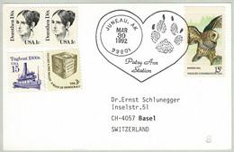 USA 1992, Postkarte Patsy Ann Station Juneau - Basel (Schweiz), Barred Owl - Perros