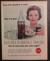 Publicité Papier 1961 Coca-Cola Bouteille Familiale 20 X 26, 5 Cm - Altri