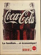 Publicité Papier 1961 Coca-Cola La Familiale ... Si économique 20 X 26, 5 Cm - Altri