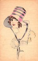 ART NOUVEAU / ART DÉCO : JEUNE FEMME Au CHAPEAU ROUGE & NOIR - ILLUSTRATION : E. KURT - NPG / A 1011/6 ~ 1910 (ai052) - Otros Ilustradores
