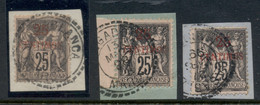 French Morocco 1891-1900 Peace & Commerce 25c On 25c Black On Rose 3x On Piece FU - Usados