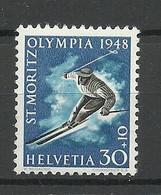 SCHWEIZ Switzerland 1948 Michel 495 MNH St. Moritz Olympic Games Olympische Spiele - Inverno1948: St-Moritz