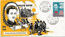 Fdc ReRu: IPPOLITO NIEVO (1961); No Viaggiata; AF_Napoli - F.D.C.