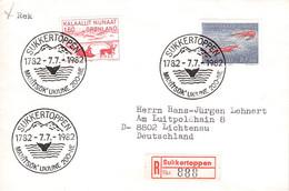 GREENLAND - MAIL 1982 SUKKERTOPPEN > LICHTENAU/DE Mi #128, 133 / PR121 - Briefe U. Dokumente
