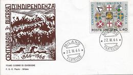 Fdc Flavia 1966: TERZA GUERRA D'INDIPENDENZA ; No Viaggiata; AF_Milano - F.D.C.