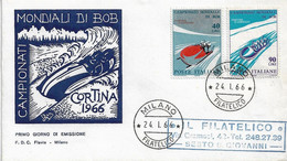 Fdc Flavia 1966: MONDIALI DI BOB ; Viaggiata; AF_Milano - F.D.C.