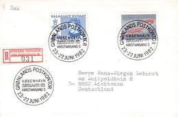 GREENLAND - REGISTERED LETTER 1982 GRONLANDS POSTKONTOR/KOBENHAVN > LICHTENAU/DE Mi #114, 133 / PR122 - Briefe U. Dokumente