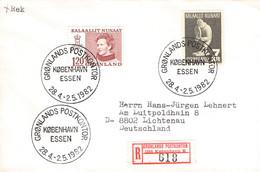 GREENLAND - REGISTERED LETTER 1982 GRONLANDS POSTKONTOR/KOBENHAVN > LICHTENAU/DE Mi #107, 117 / PR123 - Briefe U. Dokumente