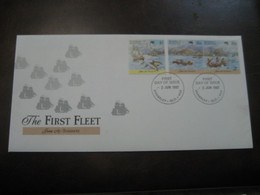 ANNERLEY 1987 Yvert 1004/6 First Fleet Tenerife Expedition Navigation Explorer Settlement Canarias FDC Cover AUSTRALIA - Primo Giorno D'emissione (FDC)
