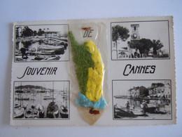 Souvenir De Cannes Multivues Mimosa Véritable Fleur Editions Azur Circulée - Cannes