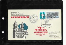 223) Carte DDR 1° Volo Erstflug Ilyushin Il-62 Interflug Berlino Tunisi Berlino 26.3.89 Timbro Tunis 5.4.1989 - Briefe U. Dokumente
